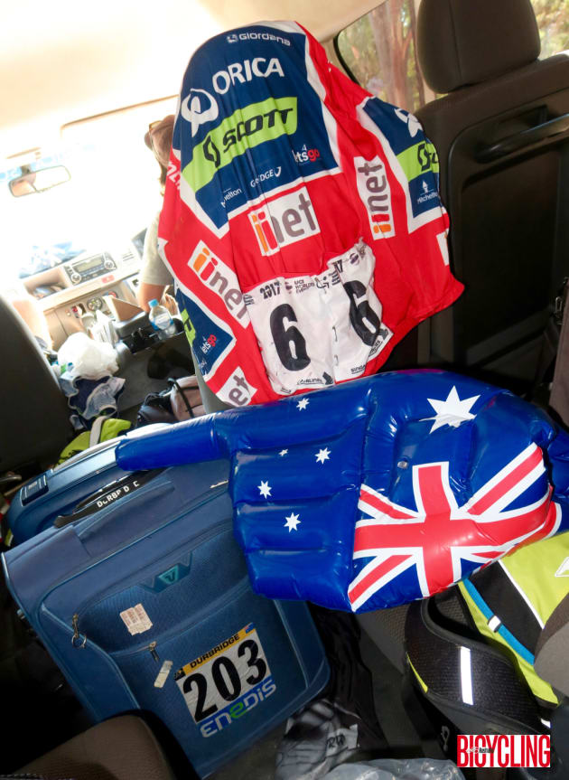 Caleb Ewan's winning jersey draped over the seat of the Orica-Scott team support van after Stage 4 of the race. Image: Nat Bromhead.