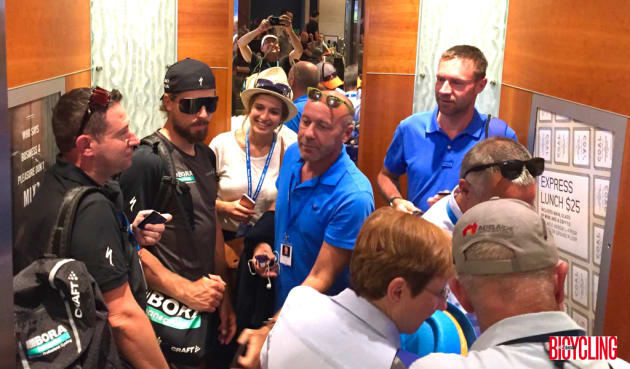 Peter Sagan and Jens Voigt among others in this full lift at the Hilton Adelaide. Image: Nat Bromhead.