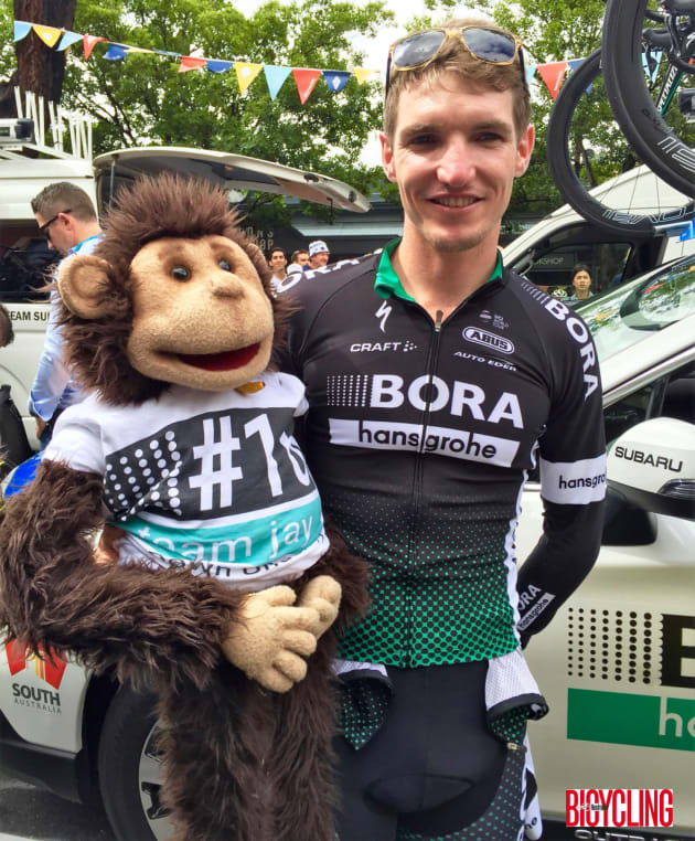 Jay McCarthy or BORA-hansgrohe with a team mascot. Jay finished 3rd overall in the 2017 TDU. Image: Nat Bromhead.
