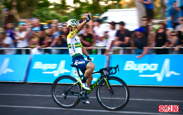 Sprint sensation Caleb Ewan celebrates his win off the 2017 People's Choice Classic in Adelaide. Image: Nat Bromhead.