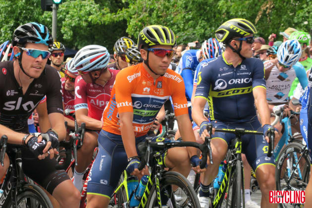 Orica-Scott's Caleb Ewan ready to roll at the start line of Stage 5 in McLaren Vale. Image Nat Bromhead.