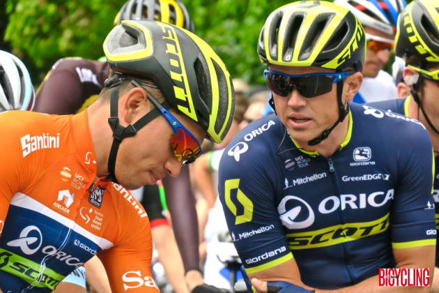Orica-Scott's Caleb Ewan talk tactics at the start line of Stage 4 of the 2017 TDU in Norwood. Image Nat Bromhead.