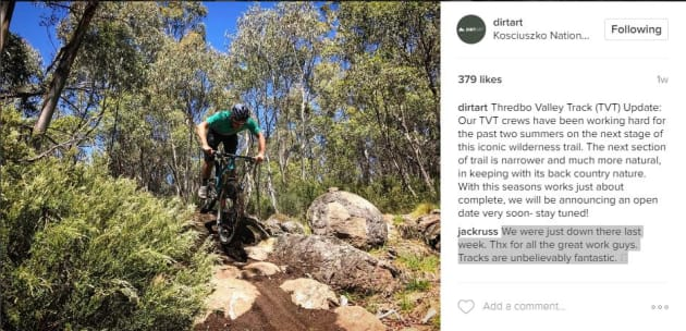 While the upper Thredbo Valley Track is wide-open and flowy, the new section is tighter and more technical for intermediate level riders.