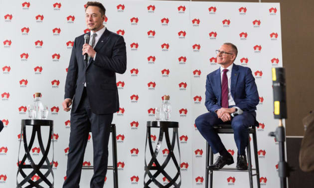 Elon Musk announces the Tesla battery alongside South Australian Premier Jay Weatherill. Picture: Andre Castellucci/InDaily