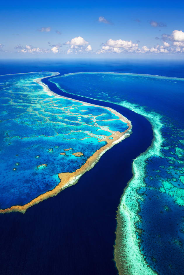 Hook and Hardy Reef, Great Barrier Reef, Queensland. A scenic flight over the Great Barrier Reef is a mind blowing experience. There are all sorts of colours that you can't quite believe are real. I saw this channel between the two reefs and asked the pilot bring the helicopter high over the space between them. Sony A7R, Canon 16-35 f/4L @ 16mm, 1/1250 sec @ f/8, handheld