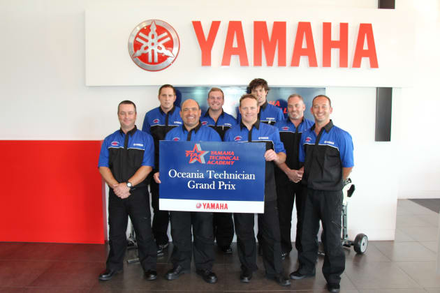 The Yamaha Grand Prix finalists for 2016: (l-r back row) Matthew Barlow, Tristram Marine (NZ), Brendan Morrisby, Lewis Marine (Victoria), Angus Short, Coast Road Motors	(SA), Graham Coulter, Northside Marine (Queensland). (Front row) Chris Willson, Broadwater Boating Centre (Queensland), Peter Sertis, Boat City (WA), Tony Powell, Telfer Marine (NZ), Brett Muller, Marina Bayside (NSW).