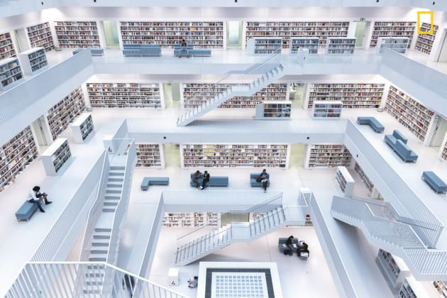 Photo and caption by Norbet Fritz/National Geographic Travel Photographer of the Year. 1st Place, Cities: Levels of reading. The modern interior of the city library in Stuttgart. With its wide-open space in the central, where natural light comes from through the windows on the top, it has a very unique atmosphere, where you can broaden your knowledge.