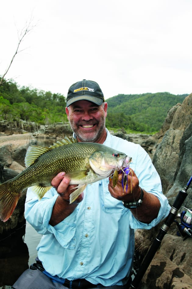 "Dave with a spinnerbait caught wild bass. It's always worth carrying a few ""coathangers"" in your tackle bag."