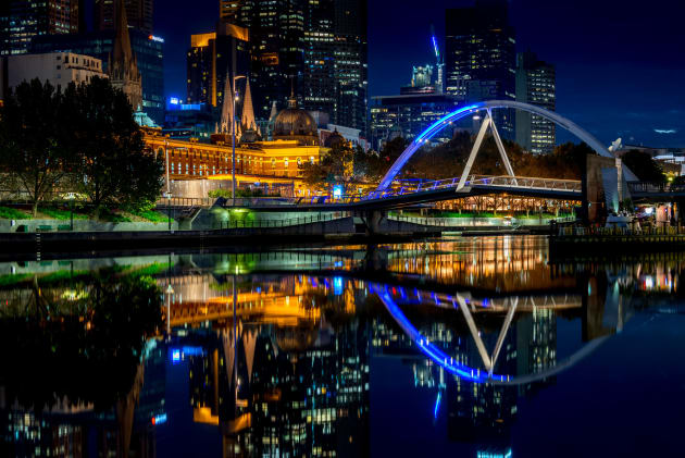 Yarra River in Melbourne just before dawn when the water was very still.