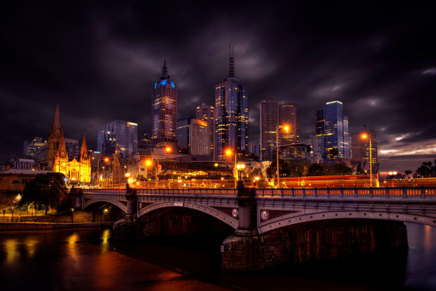 Very early morning image of Melbourne across Princes Bridge.