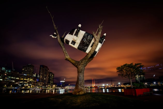 Street art, Cow up a tree in Docklands at night.
