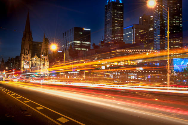 Light trails of trams heading into the City.