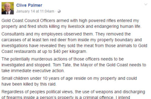Clive Palmer claims council officers used high-powered rifles to shoot deer on his land