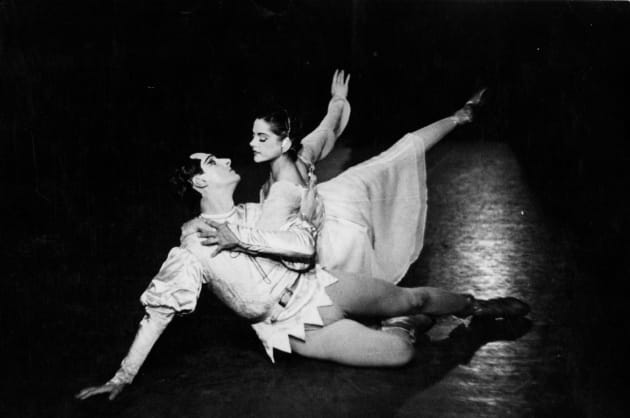 The choreographer, Paul Grinwis, and Kathleen Gorham as the Lovers in 'Les Amants Eternels' (The Eternal Lovers). Borovansky Ballet, 1951. (The photo is from the author's collection and inscribed by the choreographer.)