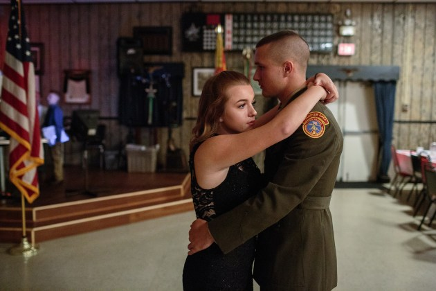 Garett dances with his girlfriend at the Young Marines annual ball, in Hanover, Pennsylvania, USA. Young Marines, a patriotic education program, has 10,000 students nationwide and focuses on youth development in such areas as citizenship, patriotism, and drug-free lifestyle. © Sarah Blesener