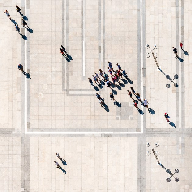 © Steve Scalone. Cologne Cathedral (Dom) square from above.