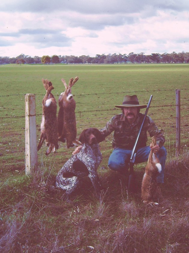 Leon Wright ages ago with a nice haul of hares hunted over his GSP.