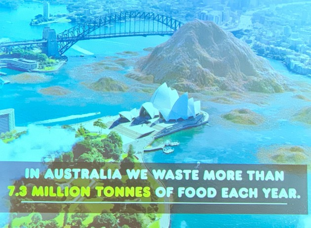 What Australia's annual food waste would look like if dumped in Sydney Harbour.