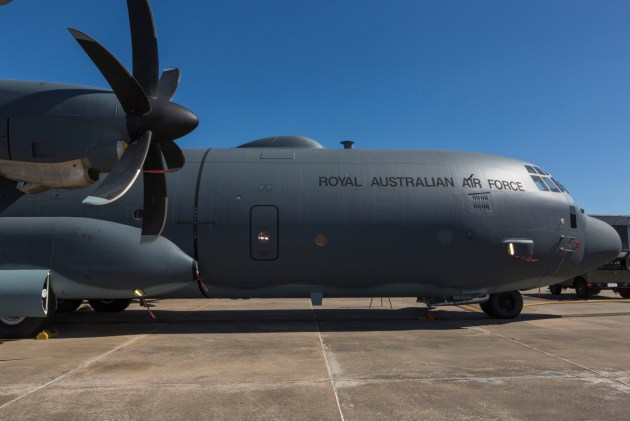 A Ka-Band SATCOM fitted to a C-130J Hercules A97-448 from No. 37 Squadron. Credit: Defence