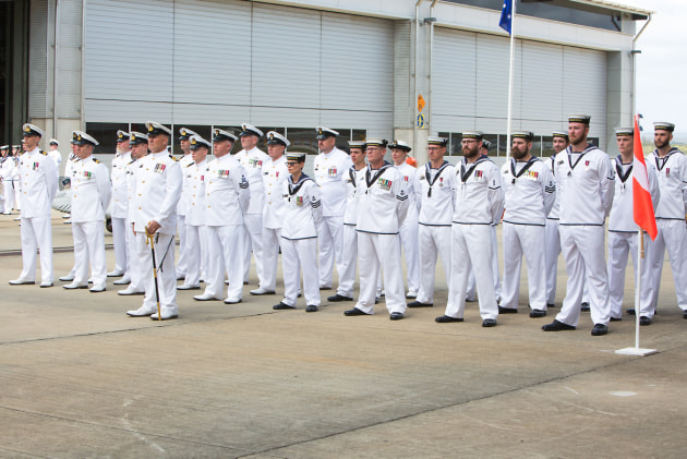 Officers and sailors of 822X Squadron on parade during the commissioning ceremony at HMAS Albatross, Nowra, NSW. Defence