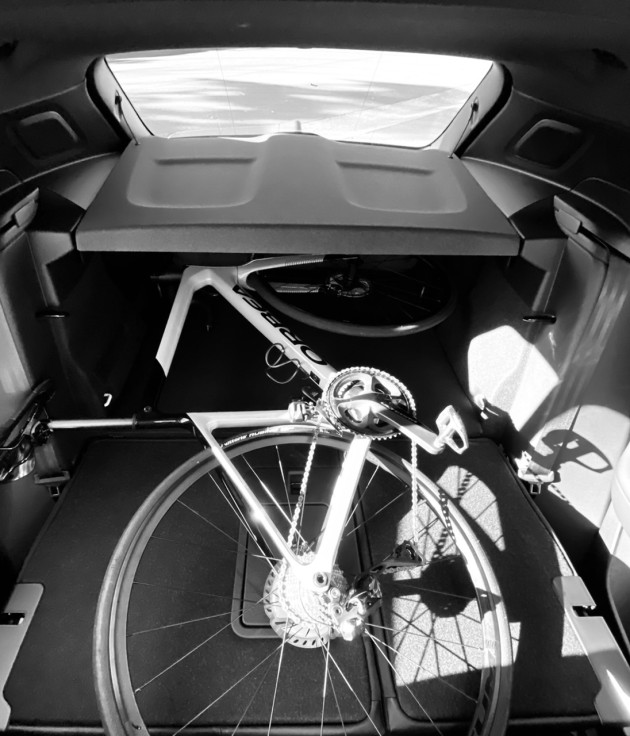 A major advantage is the fact a complete bike will easily fit in the rear of the vehicle, once the rear seats are folded flat.