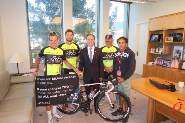 After nine days in the saddle, Chris reached Canberra on Sunday 25th March where the team delivered a message to Greg Hunt MP the following morning. The journey was a huge success in raising awareness and media attention, and gauging scope around what the Foundation can achieve.