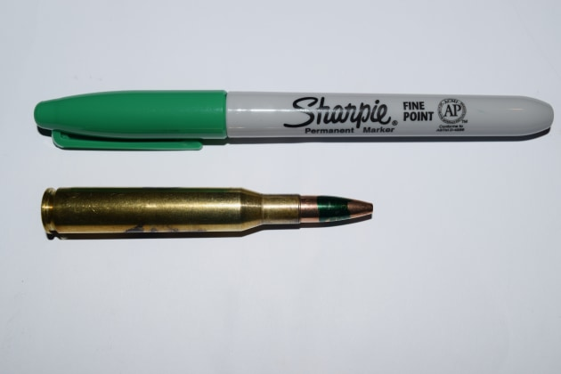 Green load and relevant Sharpie. The 58gn load was the one I took hunting, by the way.