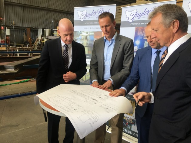 Tassie-built: at the signing ceremony for the new Antarctic barges (l-r) Peter Gutwein, Tasmanian Minister for State Growth, Magiel Venema, Damen Australia project director, Greg Taylor and Phillip Taylor, Taylor Bros.