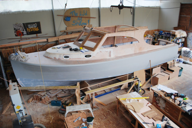 The new 32ft cruiser under construction at Denman Marine.