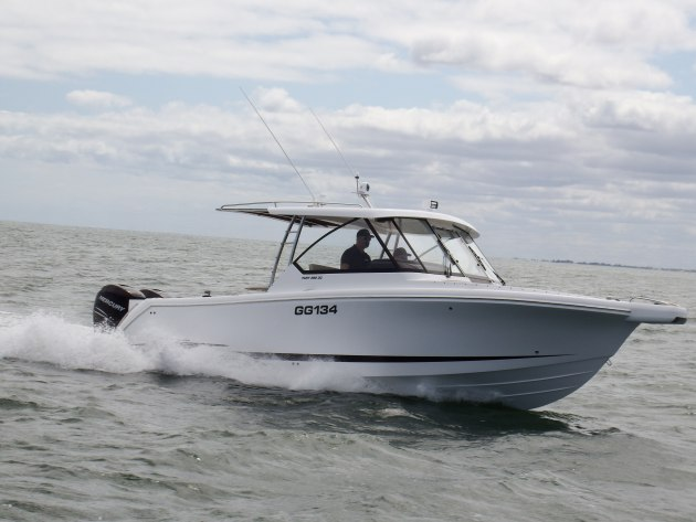 The Fury 282 Dual Console fitted with twin Mercury Verados.