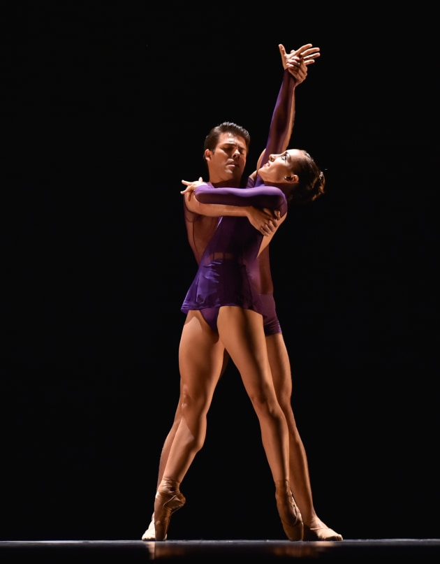 "2014 Bronze Medalist Aaron Smyth and Cara Marie Gary perform ""Rendez-Vous,"" winning the choreographic award for Nicholas Blanc. Photo: Richard Finkelstein."
