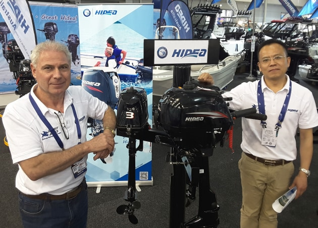 Greg Saville and Kenny Ye representing Hidea outboards at the Brisbane Boat show.