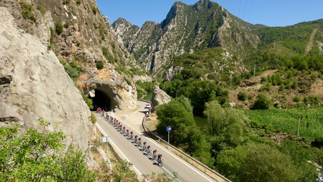 Riders of the 2017 La Vuelta make their way along a remote section of road in northern Catalonia. Image: Nat Bromhead