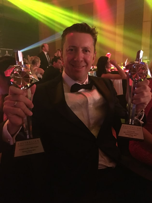 James Yaffa of Yaffa Media with the Bowral Classic's two major awards, Best New Event and Best Community Event.