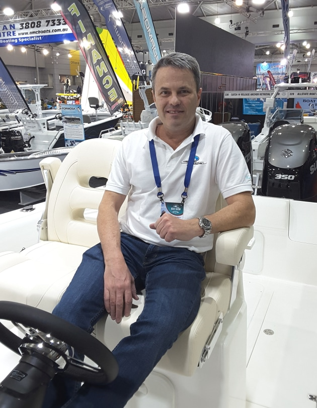 John Haines at the Brisbane Boat Show on board the new flagship 788SF.