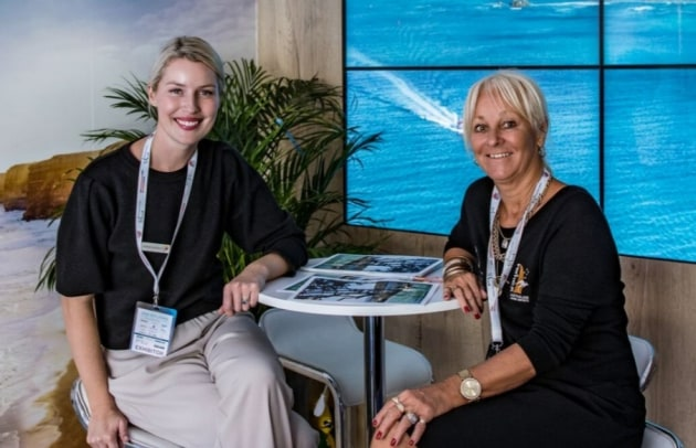 MaryAnne Edwards (right) promoting the Australian superyacht industry at the Monaco Yacht Show recently with Courtney Barry from Tourism Australia.