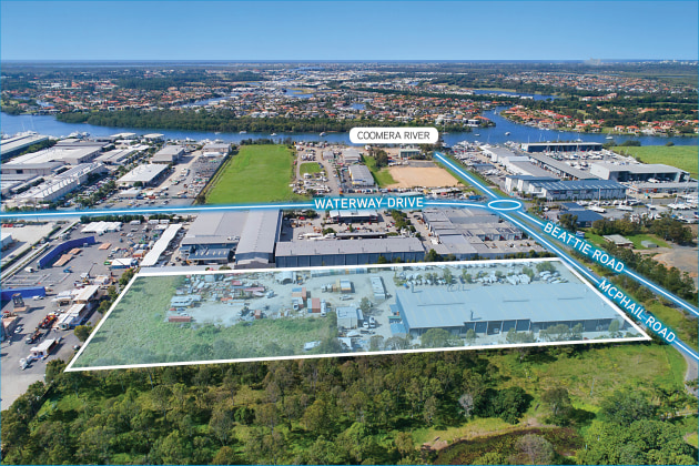 Aerial image of the recently purchased property adjoining Maritimo's Coomera manufacturing plant.