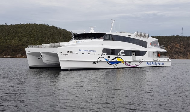 The Bellarine Express undergoing sea trials.