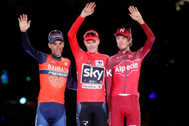 Runners up Ilnur Zakarin and Vincenzo Nibali with Chris Froome, winner of La Vuelta 2017. Image: La Vuelta