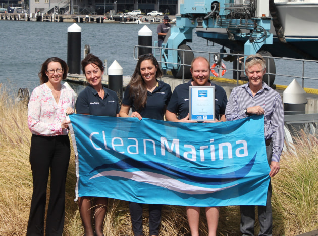 Flying the clean marina flag: Michelle Macready, MIA membership and communication officer, Lorraine Yates, SHBS business support manager, Anne Graveley, SHBS compliance and HR manager, Jeremy Rose, SHBS general manager, and Colin Bransgrove, MIA executive officer.