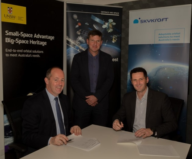 Nicolas Chamussy, Head of Space Systems, Airbus, Professor Russell Boyce, Chair of Space Engineering, UNSW Canberra and James Prior, Managing Director, Skykraft signing the MoU. Credit: Airbus