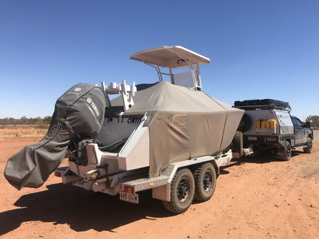 There's a boat but not much water: the AMM Sea Class 5700 centre console on its off road trailer ready to go bush.
