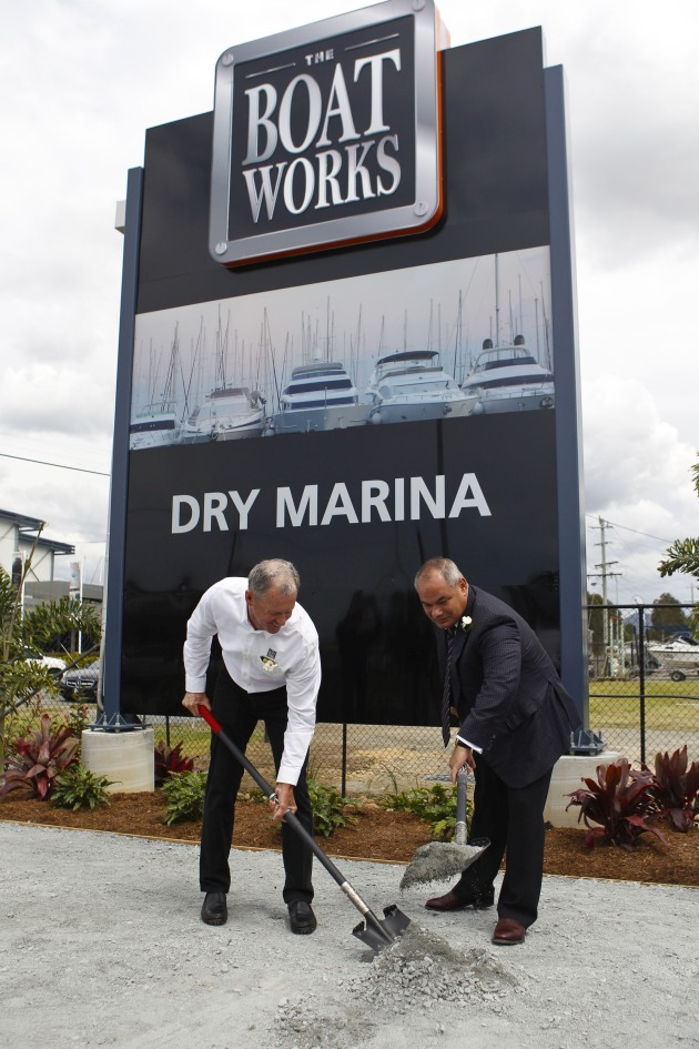 Tony Longhurst and Mayor Tom Tate with the ceremonial turning of the sod for The Boat Works expansion.