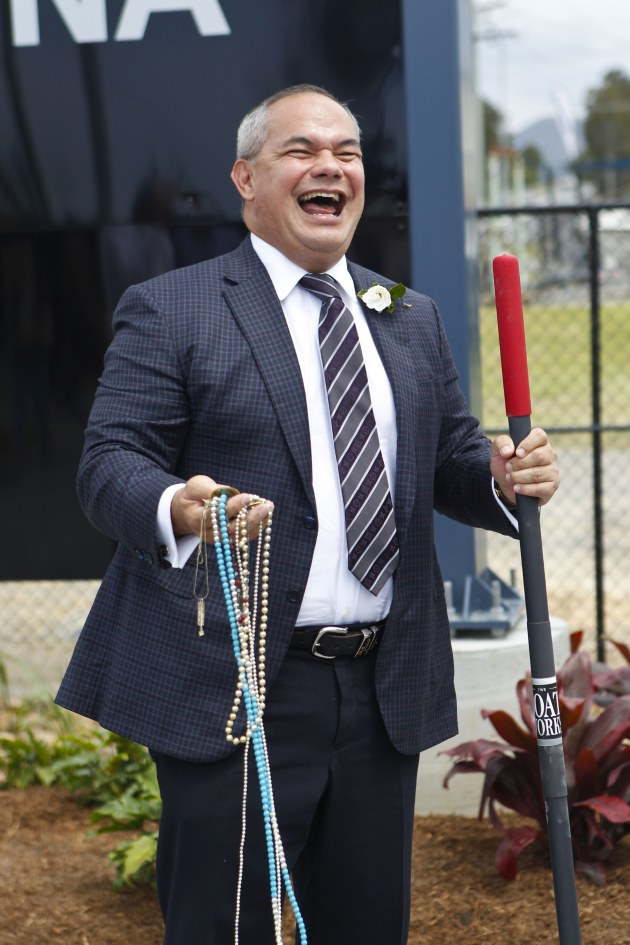 The Mayor of the City of Gold Coast, Tom Tate, celebrates the launch of the new marina.