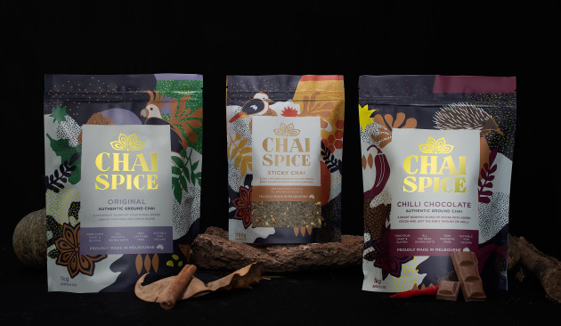 Packaging spiced up: The digitally printed pouches with variable designs saw a big boost in sales for Chai Spice Beverages.