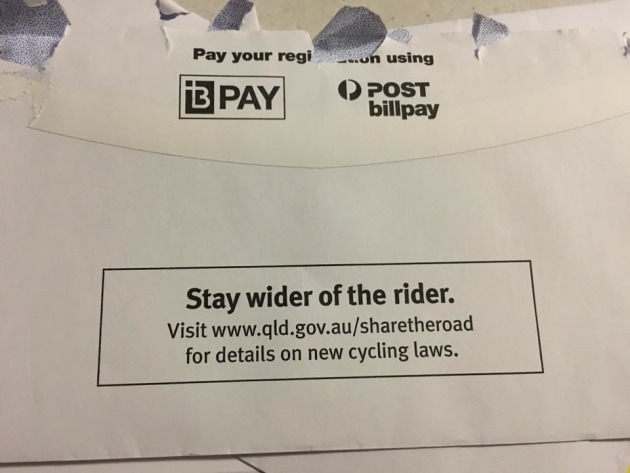 The Queensland Government is using 'Share The Road' stamped envelopes.
