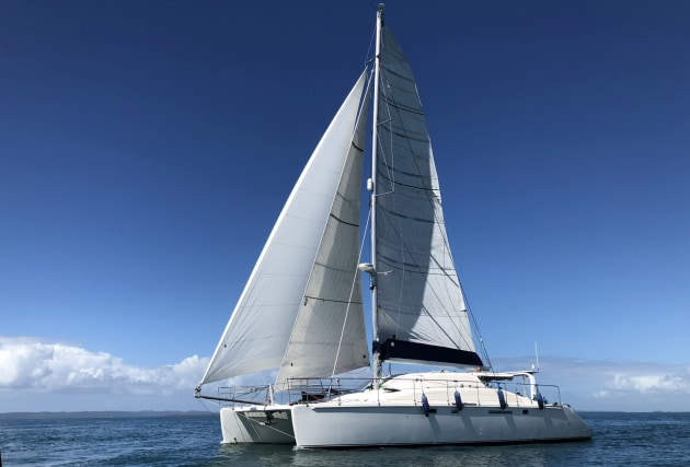 The 48-foot Grainger catamaran, Dream Catcher, repowered with new Yanmar 4JH80 (80hp) common rail diesel engines.