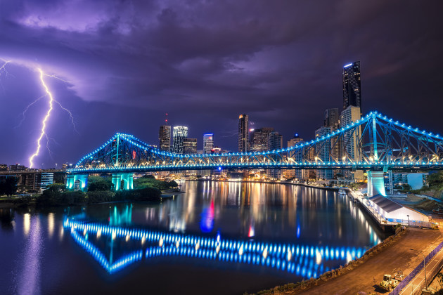 Storey Bridge, Brisbane, Qld. This was the one that almost got away. Another cell moved across the city the evening before and I missed every bolt between frames. At 3am the next morning another cell came through so I ventured back out and got this frame. Perseverance pays off sometimes. Nikon D810, 14-24mm f/2.8 @ 20mm, 30s @ f/11, ISO 100
