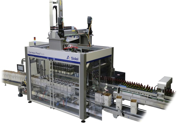 The Cermex FlexiPack pick-and-place case packing solution for glass bottles. (Image: Sidel)