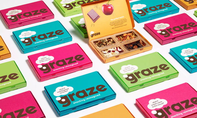 UK brand Graze delivers snack lunch box for adults.